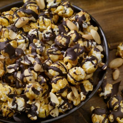 Dark Chocolate Caramel Popcorn with Peanuts